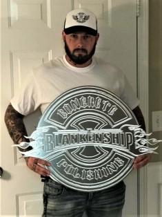 Justin Blankenship of Blankenship Concrete. Logo engraved by Henry Ashworth of RedArt Technologies