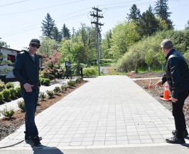 John showing Henry the pavers